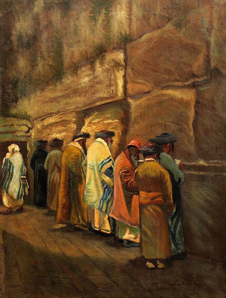 Alfred Lakos 1870 - 1961  praying on tha western wall