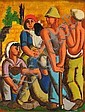 Yochanan Simon 1905 - 1976  Kibbutz Workers at Rest, Yohanan Simon, Click for value