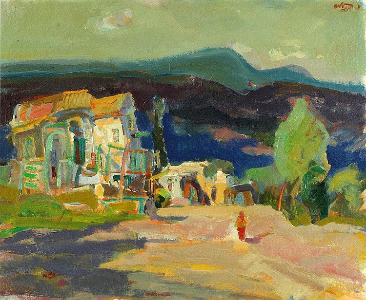 Moshe Rosentalis 1922 - 2008 Figure in the Landscape