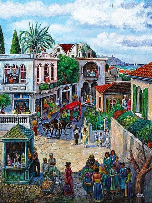 Nachum Gilboa Figures in Neve Tzedek oil on canvas