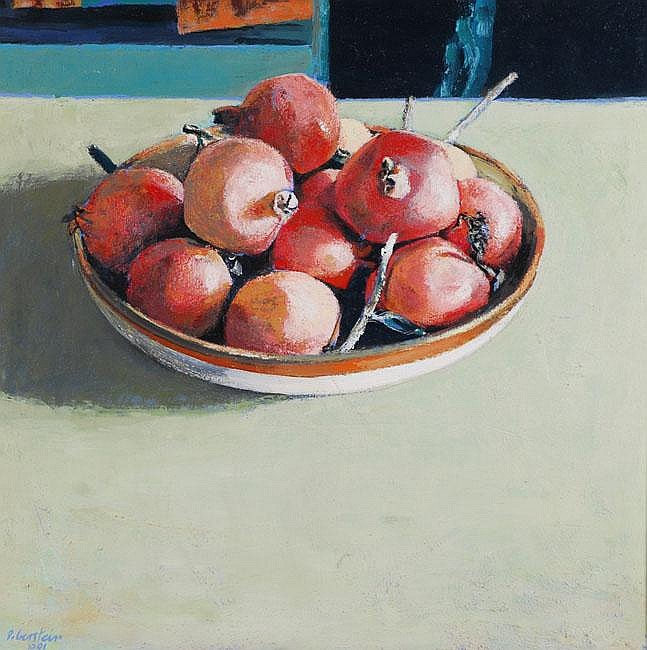 David (Dudu) Gerstein b. 1944 Pomegranates Oil on