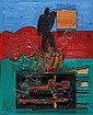 Pinhas Cohen Gan b. 1942 Untitled Oil and pasting, Pinchas Cohen Gan, Click for value
