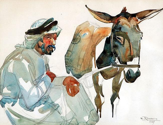 Saul Raskin 1878 - 1967 Donkey and Rider