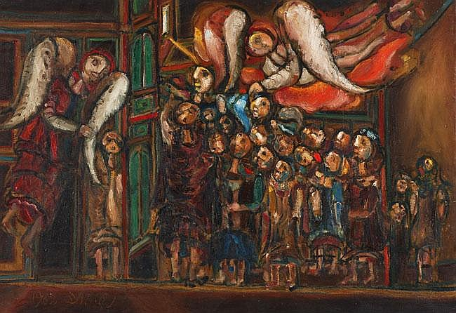 Shmuel Boneh 1930 - 1999 Angels Oil on canvas 1962