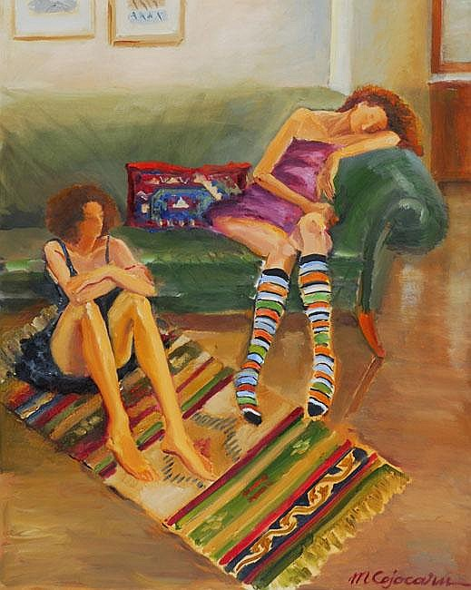 Miriam Cojocaru b. 1945 Sophie and Sophie Oil on