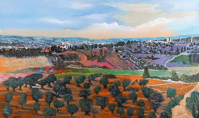 Oded Feingersh b. 1938 Jerusalem view oil on