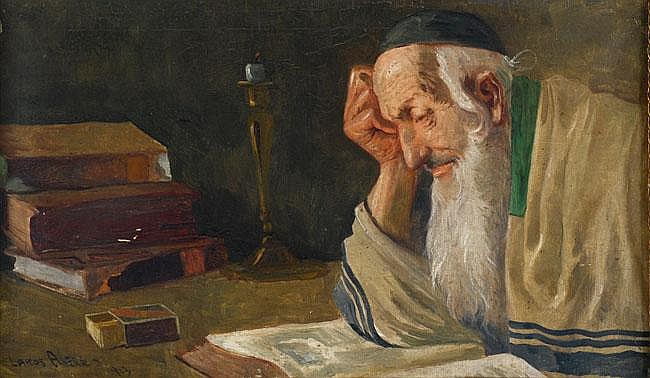 Alfred Lakos 1870 - 1961 Rabbi Studying Torah Oil