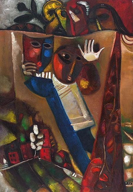 Leo Roth 1914 - 2002 Purim Oil on canvas Signed.