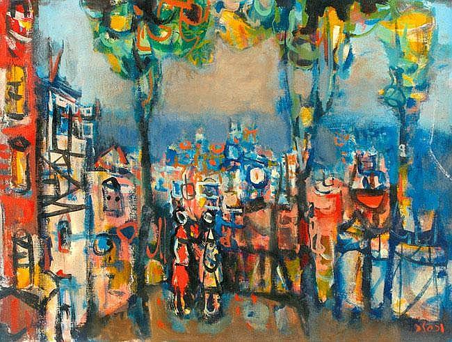Jacob Wexler 1912 - 1995 Figures in the City Oil