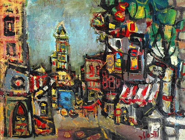 Jacob Wexler 1912 - 1995 Horse and Wagon in the