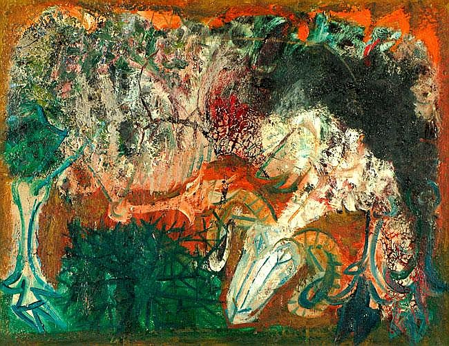 Shraga Weil b. 1918 Deer Oil on canvas 1960 Signed