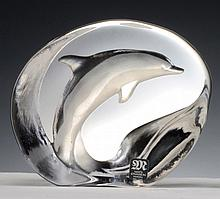A MATS JONASSON CRYSTAL RELIEF IN THE FORM OF A DOLPHIN