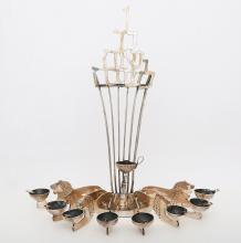A STERLING SILVER HANUKKAH LAMP