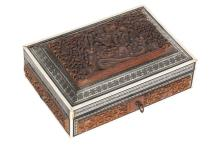 A CARVED WOOD PANELLED AND MOTHER OF PEARL AND BONE INLAID ANGLO-INDIAN BOX