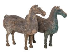 TWO PAINTED GREY HAN POTTERY HORSES