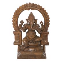 A MASSIVELY CAST BRONZE FIGURE OF GANESHA