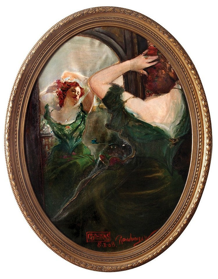 Henryk Rauchinger 1858 - 1942 - Figure in Front of the Mirror