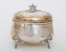 A GERMAN SILVER SUGAR CONTAINER
