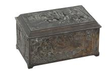 A FRENCH BRONZE JEWELLRY BOX