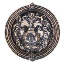 A CAST BRONZE LION MASK DOOR KNOCKER