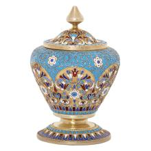 A RUSSIAN SILVER-GILT AND CLOISONNE ENAMEL SALT AND COVER