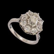 AN 18K GOLD AND PLATINUM, ART-DECO RING