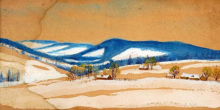 Stefan Filipkiewicz 1879 - 1944:  Snowy Landscape