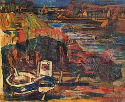 Charles Tcherniawsky 1900-1976 Boats at Sea