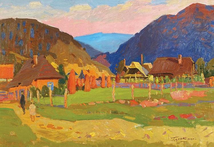 Gavriil Martynovich Gliuk 1912 - 1983 Figures in the Village