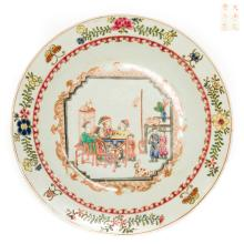 Chinese Antique Famille Rose Porcelain Dish, Qing Dynasty