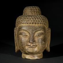 Chinese Antique Stone Buddha Head, North Qi Dynasty