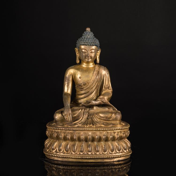 19th Antique Gilt Bronze Medicine Buddha