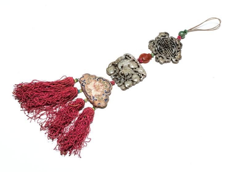 18th Antique Carved Jade Pendant