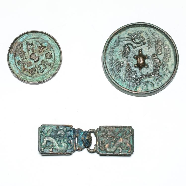 Antique Bronze Mirrors and Belt Buckles
