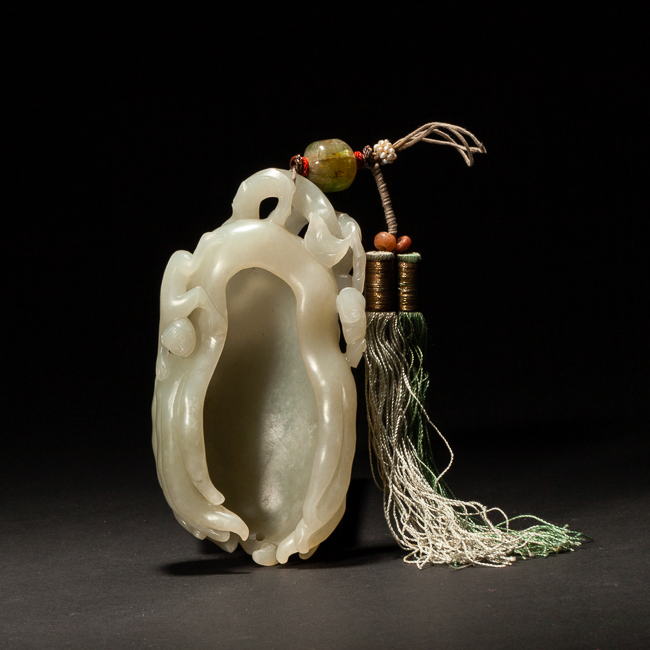 18-19th Chinese Antique White Jade Brush Washer