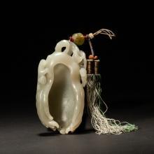 18-19th Chinese Antique White Jade Brush Washer