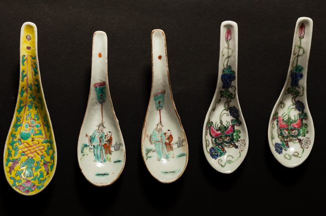 Group Chinese Antique Rose Famille Porcelain Spoons