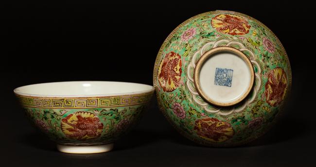 Pair 18th Chinese Antique Sancai Porcelain Bowls