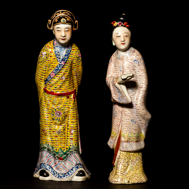 Chinese Antique Rose Famille Porcelain Figures