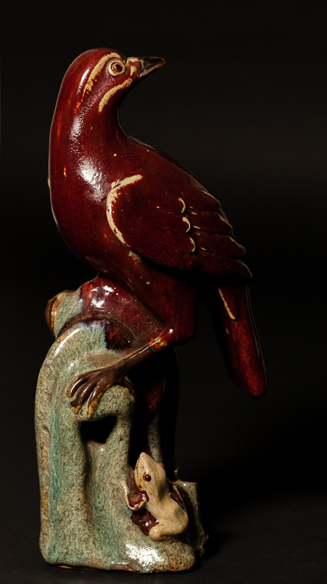 18th Chinese Antique Transmutation Red Glazed Porcelain Figure: Eagle