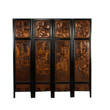 19th Chinese Antique Boxwood Four-Panel Screen