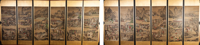 19th Chinese Antique Pair of Six Panel Screen