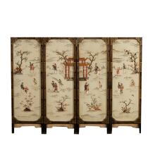 19th Chinses Antique Four-Panel Floor Screen