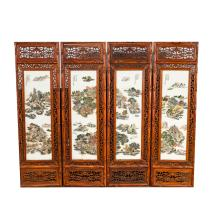 19th Chinese Antique Rosewood Four-Panel Screen