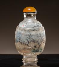 19th Antique Inside Painted Rock Crystal Snuff Bottle