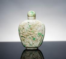 19th Antique Carved Jade Jadeite Snuff Bottle