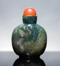 19th Chinese Antique Moss Agate Snuff Bottle