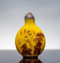 19th Antique Overlay Glass Snuff Bottle