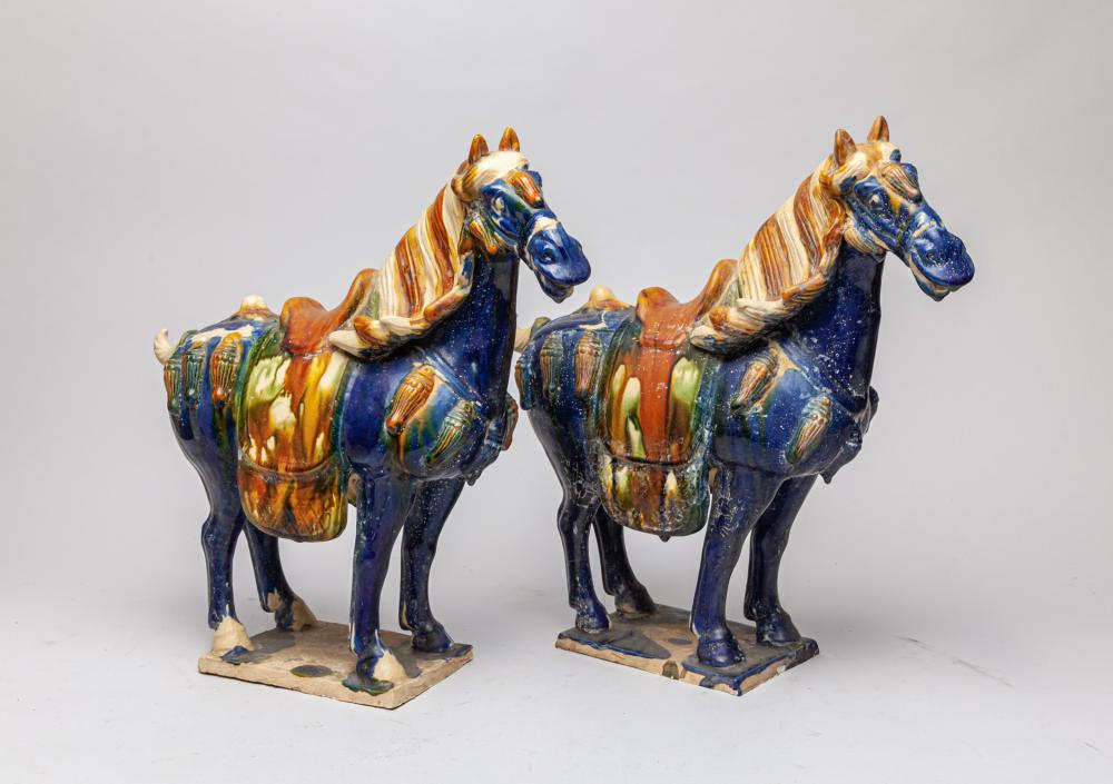 Pair Chinese Glazed Pottery Horse