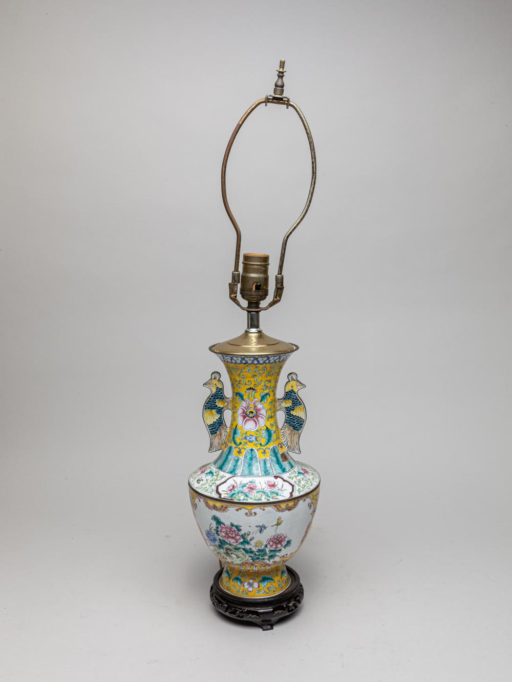 Chinese Old Enameled on Brass Lamp